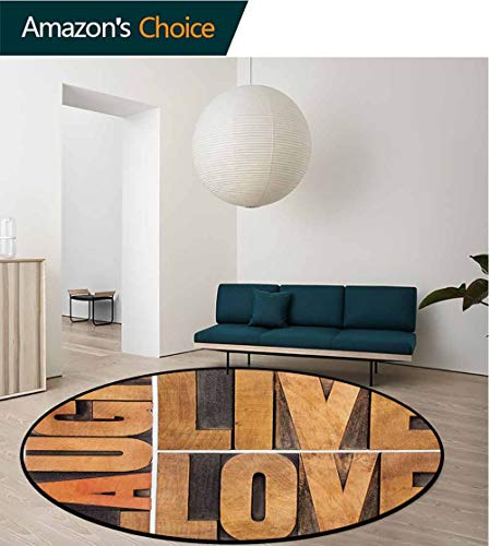 Macro Home Decor - Live Laugh Love Rug Round Home Decor Area Rugs,Macro Calligraphy with Life Message Inspirational Digital Graphic Non-Skid Bath Mat Living Room/Bedroom Carpet,Diameter-35 Inch