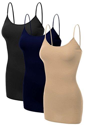 Emmalise Women's Basic Plus Size Long Camisole Cami Top Value Combo - 3Pk - Black, Navy, Khaki, ()