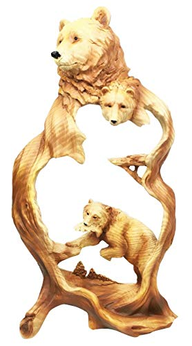 Nature Rustic Faux Wood Wildlife Scene Black Bear Hunting Fish Decor Figurine #EB06