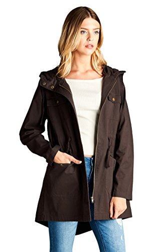 Review Vialumi Women's Hooded Long Utility Cargo Jacket w/ Waist Tie Brown Small