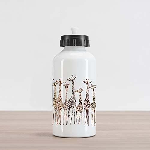 Lunarable Safari Aluminum Water Bottle, Tropical Giraffes Exotic Climates Wilderness Savannah Animals Artful Illustration, Aluminum Insulated Spill-Proof Travel Sports Water Bottle, Multicolor