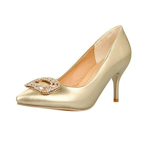 Carolbar Women's Court High Shoes Heel Sexy Pointed Gold Rhinestones Toe rrHqUW