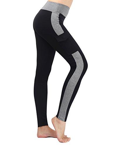Neonysweets Womens Yoga Pants Tights Running Fitness Pants Leggings Black Gray L