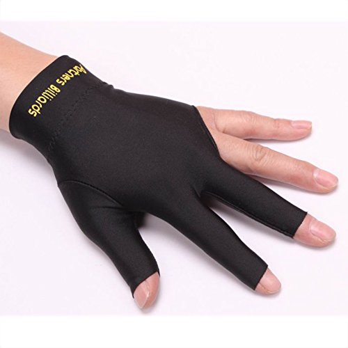 - Onner Billiards Snooker 3 Fingers Gloves, Single Black Left Hand Open 3-Finger Shooters Pool Billiard Glove(Black)