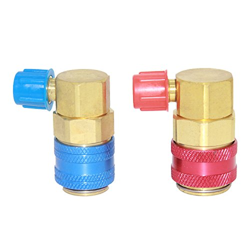 Joyway Angled High Low R134a AC Quick Coupler Adapter Fitting Freon Manifold Gauge Hose Conversion Kit,1/4