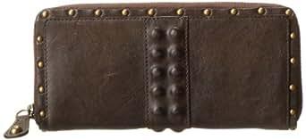 FRYE Roxanne Large Zip Vintage Veg Tan Wallet,Grey,One Size