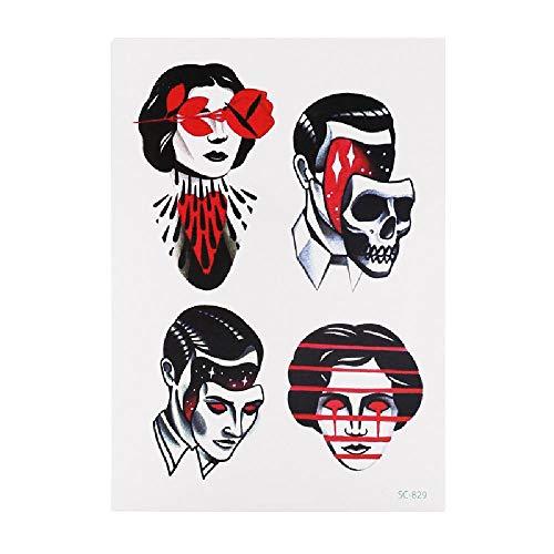 Halloween Scary Body Tattoo Sticker Blood Knife Demon Scar Vampire Skull Mouth S OneSize ()