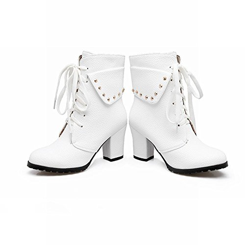 Short Carolbar Rivets Fashion Modern Women's Heel Boots Block White High nUq0ZYUP