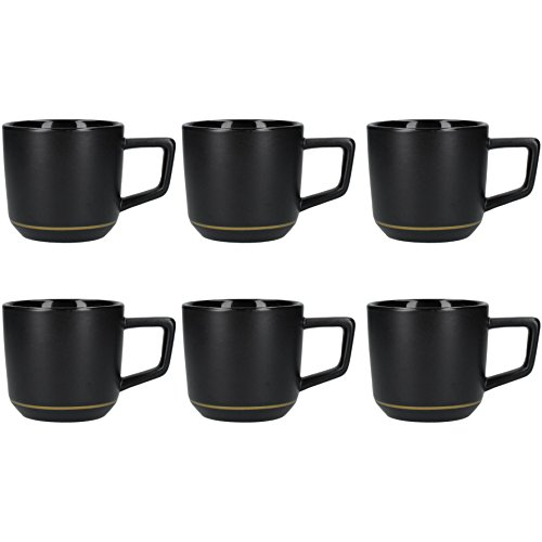 La Cafetière Edited Modern-Style Ceramic Coffee Cups with Gold-Coloured Decoration, 220 ml (7.5 fl oz) - Matte Black/Gold (Set of 6) ()