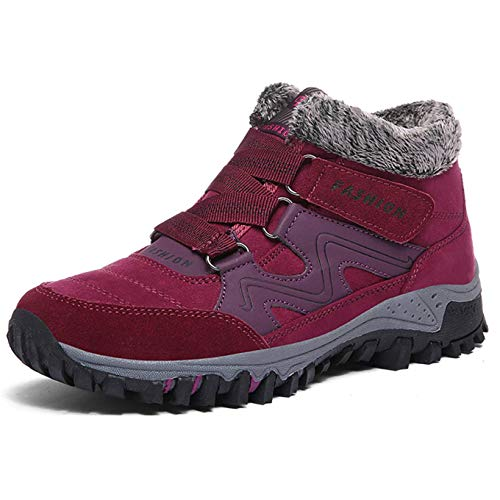 aeb29c2cc0d3b Qiucdzi Womens Winter Snow Boots Warm Fur Lined Anti-Slip Ankle Booties Outdoor  Walking Shoes