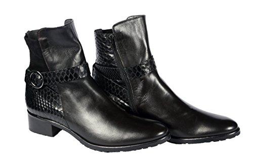 Carolina D. ITALIAN XL SHOES, Damen Stiefel & Stiefeletten  schwarz Nero pitone