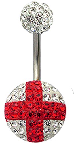 (Surgical steel St. George design belly button ring with CZ Red and clear crystals)
