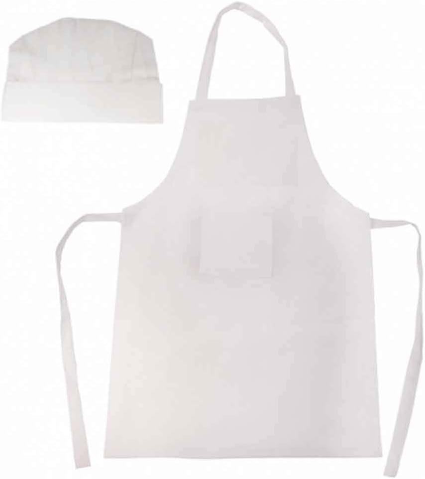 Regalo para cumplea/ños Lote 10 Unidades en Blanco colegios y Fiestas Infantiles Gorro Infantil Peque/ños Cocineros Delantal
