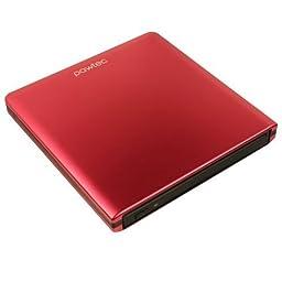 Pawtec Slim External Aluminum Slot-Loading BDXL Blu-Ray Writer / Burner for PC Windows or Apple Mac iMac MacBook (Red)