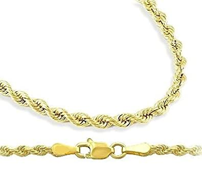 4d7a241e7 Rope Chain 14k Yellow Gold Necklace Solid Mens Diamond-cut 6mm , 20 inch