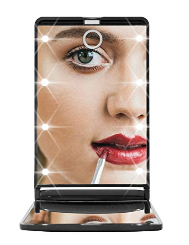 Small Travel Cosmetic Makeup Beauty Mirror LED Lighted 2x Magnified Makeup Compact Mirror