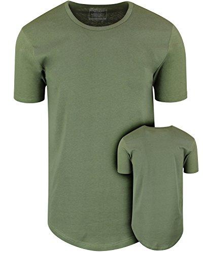 (ShirtBANC Mens Hipster Hip Hop Long Drop Tail T Shirts (Military Green, M))