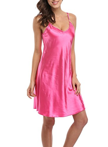Old-to-new Satin Chemises Slip Lingerie Sleepwear Lady Girls Sexy Nightdress Rose