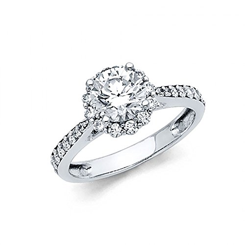 American Set Co. 14k White Gold CZ Halo Cathedral Pave Engagement Ring