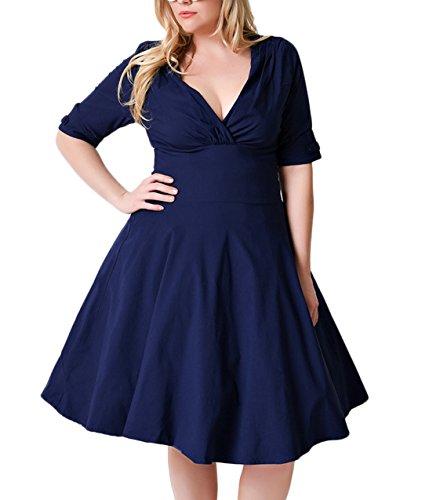 Nemidor Womens Vintage 1950s Style Sleeved Plus Size Swing Dress