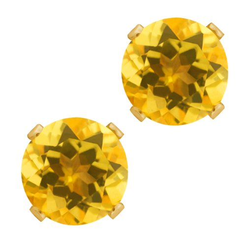 2.60 Ct Round Shape Yellow Citrine Yellow Gold Plated Silver Stud Earrings