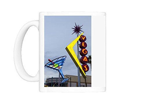 Mug of Oscar s Neon Martini Glass and Vegas neon signs, Fremont Street, Neon Museum (Ups Neon Sign)