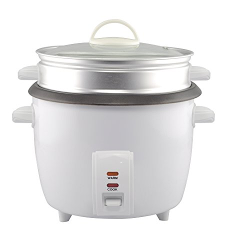 GForce Rice Cooker Aluminum Infused 1Liter/10 Cup Rice & Grain Cooker with Aluminum Vegetable Steam Tray - White by GForce