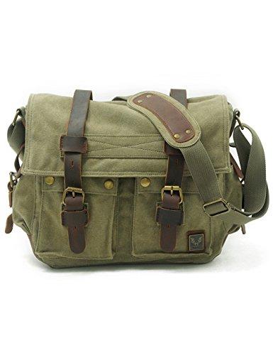 UONBOX 15.6''-17.3'' Men's Messenger Bag Vintage Canvas Leather Military Shoulder Laptop Bags (XL, Green) by UONBOX (Image #1)