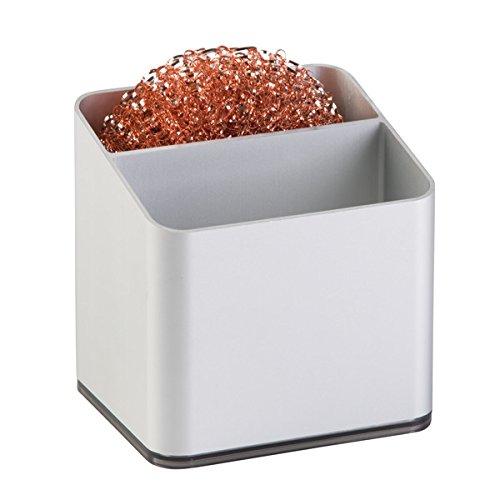 mDesign porta spugna – ideale organizzatore portaoggetti lavandino in alluminio inossidabile – comodo porta spugne cucina per fare asciugare in fretta le spugne – perfetto organizer lavelli cucina MetroDecor 5671MDK