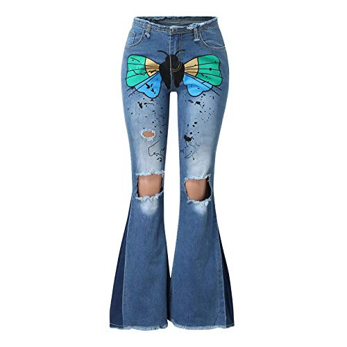 NREALY Women Butterfly Denim Straight Pocket Stitching Trousers Distressed Jeans