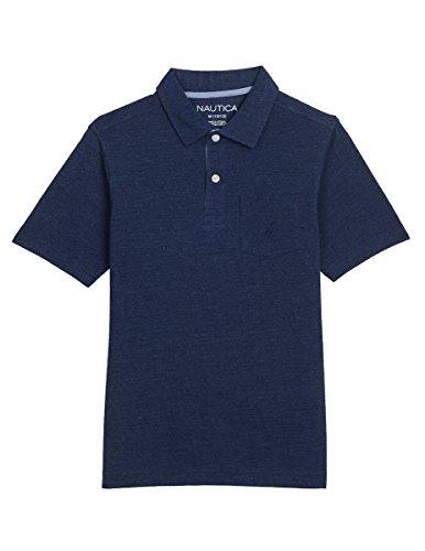 Nautica Boys' Short Sleeve Solid Deck Polo with Chest-Pocket, Navy, (Boys Navy Polo)