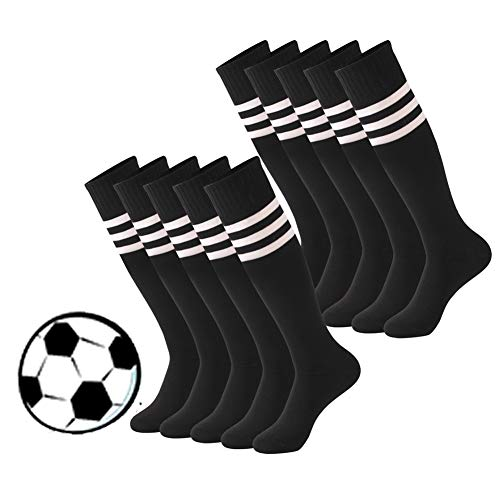 Calbom Unisex Crazy Cosplay Over-The-Calf Football Long Tube Soccer Socks for Team Pack of 10 Black White Stripes One ()