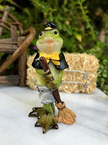 ShopForAllYou Figurines and Statues Miniature Dollhouse Fairy Garden Figurine ~ Mini Halloween Frog in Witch Costume ()