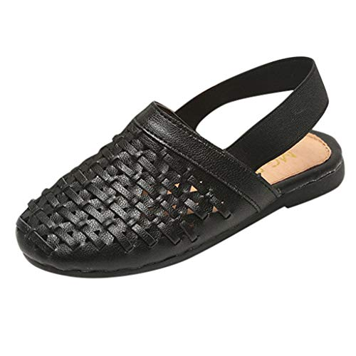 Haalife◕‿ Girls Slip on Sandals Toddler, Soft Leather Slip on Slides with Elastic Back Strap Flats Shoes for Kids - King Arch Slat