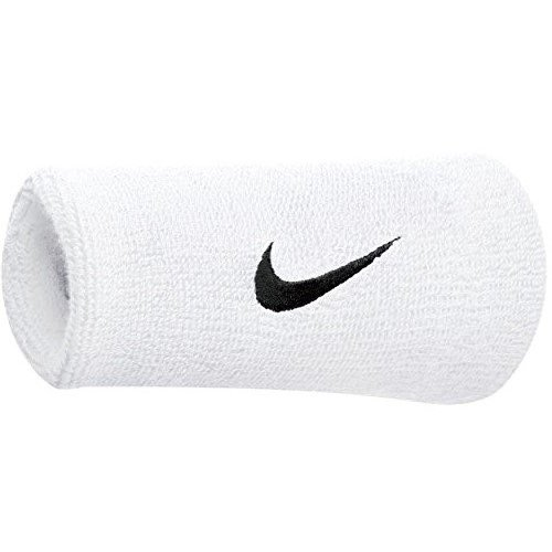 Nike Swoosh Doublewide Wristbands (White/Black, OSFM)