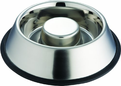 Indipets Extra Heavy One Piece Stainless Steel Non Tip - Anti Skid Health Care Slow Feeding Dish, Large