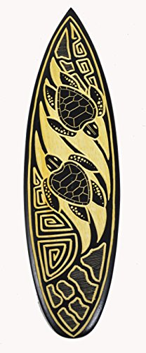 Wooden Handmade DOUBLE TURTLE CARVED IN WOOD Surfboard Sign Wall Plaque Art Carved Tiki Surfboard