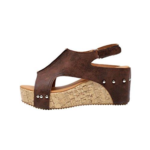 Women High Heel Leather Rivet Roman Platforms Wedges Shoes Sandals (8.5, Brown) (Brown Leather Sandals)