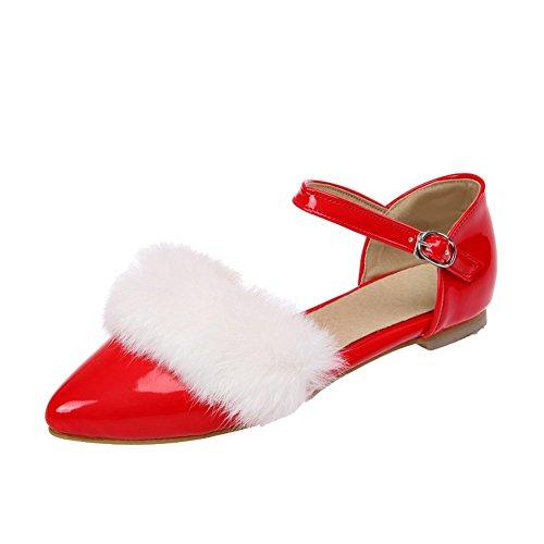 Enmayer Womens Causale Handige Stijl Harige Gesp Flats Voor Feest Rood