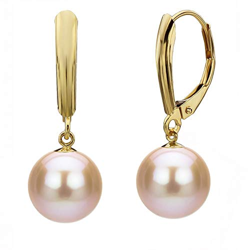 Pink Cultured Freshwater Pearl Earrings Leverback Dangle 14K Gold Jewelry for Women