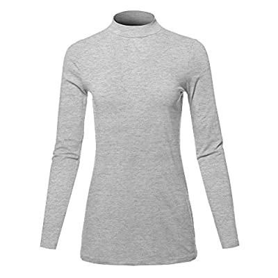 Women's Basic Solid Soft Cotton Long Sleeve Mock Neck Top Shirts at Women's Clothing store