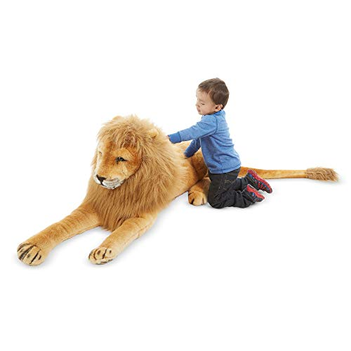 "Melissa & Doug Lion Giant Stuffed Animal, The Original (Wildlife, Regal Face, Soft Fabric, 22"" H x 76"" W x 15"" L, Great Gift for Girls and Boys - Best for 3, 4, 5 Year Olds and Up)"