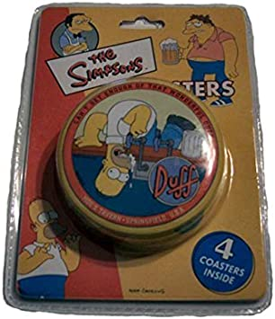 THE SIMPSONS WATCHING TV INSPIRED DESIGN CUSTOM RUBBER CAR COASTER 2 PC SET