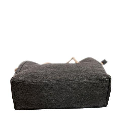 Tela Grigio A nero Grande Tracolla Tote Borsa Hangbag Semplice Borsa BFqdnT7