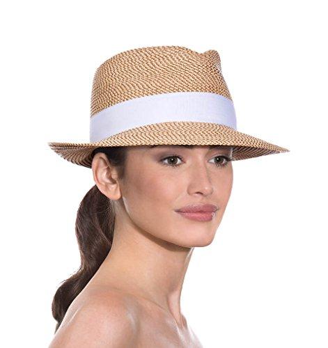 Eric Javits Luxury Fashion Designer Women's Headwear Hat - Squishee Classic- Peanut/White - Eric Javits Straw Cap