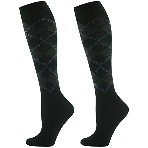 Wedding Dress Socks, SUTTOS Unisex Men's Women's Classics Black Argyle Nordic Plaids Patterned Knee High Length Long Tube Winter Casual Work Socks Easter Day,2 Pairs, One Size ()