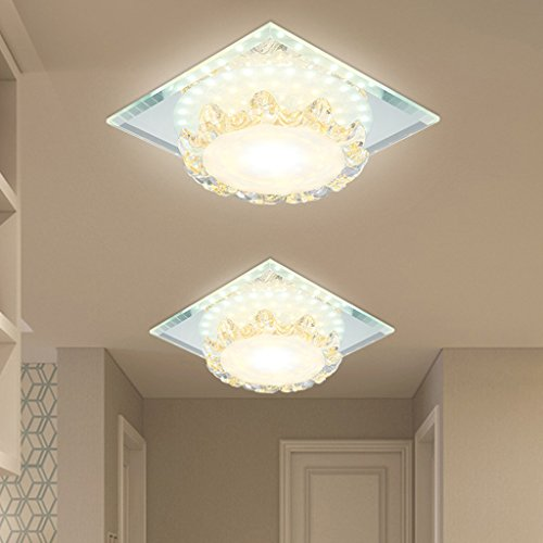 Wotefusi Home New Luxury Modern LED Crystal Ceiling Light Lamp Corridor Dinning Bedroom Porch Lighting Cloak Room(Surface Mounted Square) by Wotefusi