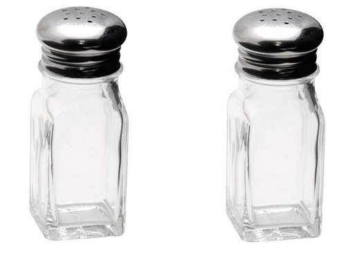 Retro Style Square Salt and Pepper Shakers with Mushroom Stainless Tops - One Set Retro Kitchens