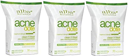 Alba Botanica Natural Acne-dote, Acne Medication, Clean 'n Treat, Maximum Strength Daily Cleaning Towelettes - 30 CT (Pack of 3)