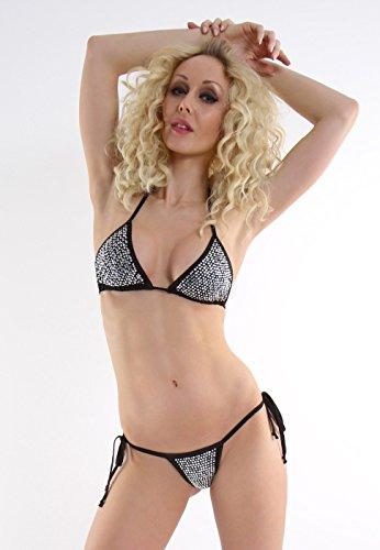 Bikini zum Binden mit viel Strass Schwarz